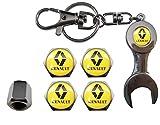 ETMA aut011-63 Válvulas Acero Inoxidable Coche + Llavero Apreta Válvulas Renault Amarillo