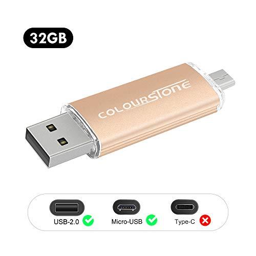 OTGMemoria USB 2.0, 32GB Pendrive del Puerto Dual Compatible con Samsung Huawei Smartphones y Tablets Memoria Externa (32GB2.0-Oro)