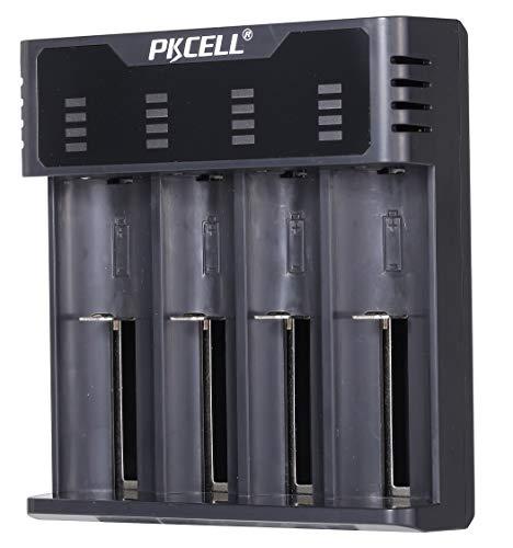 Cargador de batería multifunción Universal Inteligente USB 4 Ranuras para Li-Ion/Ni-MH/Ni-CD 18650 18350 17500 16340 14500 26500 AAA AA Baterías Recargables Cargador Inteligente rápido (Negro)