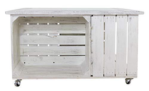 Kontorei 1x leuke salontafel met opbergruimte van houten kisten, vintage-design, met ingelijste glasplaat, voor gezellig wonen, nieuw, 85 x 85 cm