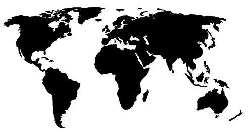 Adesivo Mappa del Mondo - Sticker per Personalizzare LA Tua Auto - Moto - Camper - Muri Pareti e Mobili - World Map Decal - Decorazioni ADESIVE in Vinile di Alta QUALITA' - Nero 30 X 20 CM