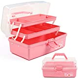 12in Three-Layer Multipurpose Storage Box Organizer Folding Tool Box / Art & Crafts Case / Sewing Supplies Organizer / Medicine Box / Family First Aid Box with 2 Trays (Pink)