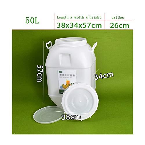 Fermentación sellada de barril de enzimas de grado alimentario de gran capacidad con tapa, vinos purificados, agua para el hogar, contenedor de almacenamiento de agua JNCSX (tamaño : 50 L (cúb