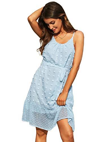 GRACE KARIN CLX018S21 - Vestido de verano para mujer con tiras finas azul claro M