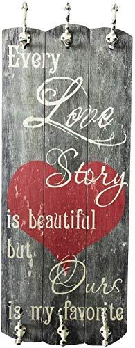 UMOI Appendiabiti da Parete e da corridoio, in Legno Anticato Massiccio con 6 Ganci massicci, Stile Shabby Chic, 100 x 40 cm, Nuovo Modello (Love Story)
