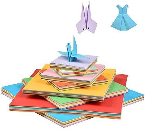WOWOSS 800 Hojas Papel Color Cuadrado para Origami Papel para Papiroflexia (4 tamaños, 10 colores)