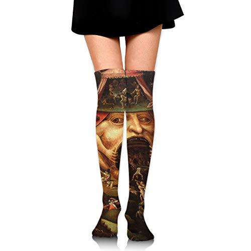 knie hoge been warmer grappig inzicht in de hel door hiëronymus Bosch compressie sok hoge buis dij boot voorraad voor vrouwen tieners meisjes