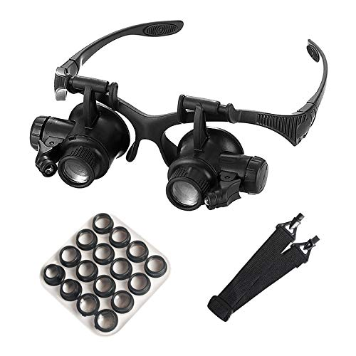 Headband Watch Repair Magnifier Glasses - Buqikma Illuminated Double Eye Magnifier Glasses 8 Interchangeable Lens for Jeweler Repairing Miniature Engraving
