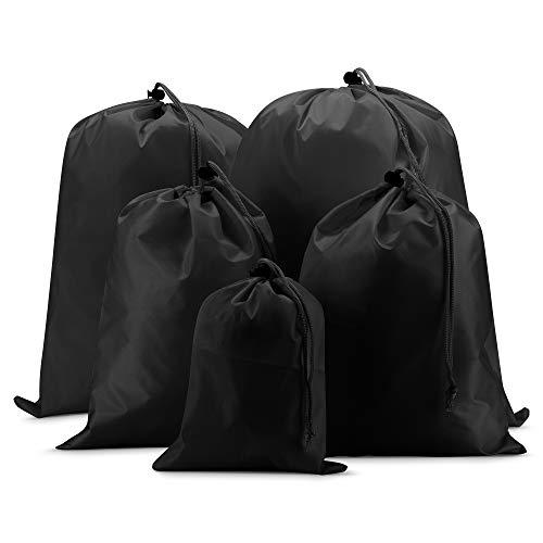 EAZY CASE Koffer Packbeutel Set 5-teilig, Reisebeutel in verschiedenen Größen, Koffer Organizer auch für Rücksäcke und Taschen, Wäschesack, Stausack mit Kordelzug, Schwarz