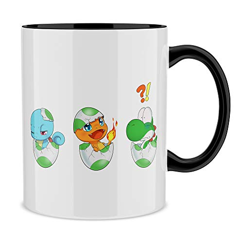 OKIWOKI Yoshi - Pokémon Lustiges Tasse mit farbigem Henkel und Innenleben (Schwarz) - Yoshi, SCHIGGY und GLUMANDA (Yoshi - Pokémon Parodie signiert Hochwertiges Tasse - Ref : 885)