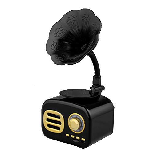 CVERY Vintage Bluetooth Radio Mini Altavoces de Estilo Grammófono con Receptor Am-FM USB TF Tarjetas de 3,5 mm AUX Hembra de 5 W Sonido Estéreo, Negro, Tamaño Libre