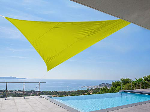 Idéprice toile d'ombrage triangulaire 5x5x5m polyester déparlent anti UV 180 gr/m2 Vert Anis, 36 x 25 x 5 cm