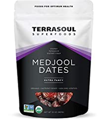 Terrasoul Superfoods Organic Medjool Dates, 2 Pounds USDA Certified Organic, Earth Kosher, Non-GMO, Raw, Gluten-Free, Vegan Our Medjool dates are grown in California on organic farms and are an Extra Fancy grade Perfect for snacking and sweetening nu...