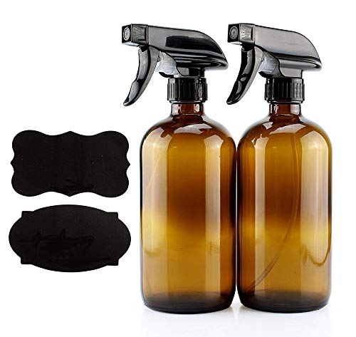 TongNS1 2 Pack 8 Oz Amber Glass Spray Bottles Empty Spray Bottles Fine Mist Sprayer Bottles Reusable Bathroom and Kitchen Hair Care Essential Oils with Atomizer Pumps Gardening