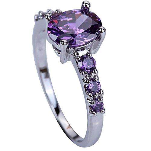 Yazilind Wedding Band Lila Strass Bridal Engagement Band Ring Für Frauen Size12