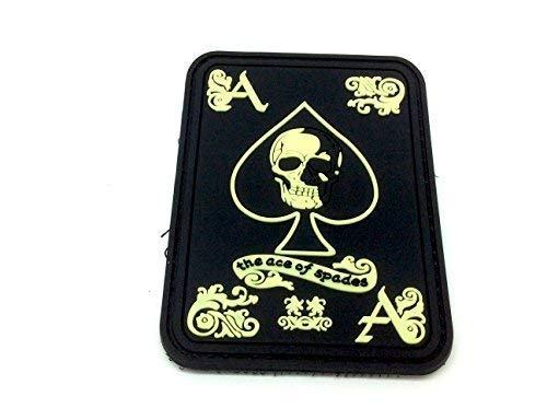 Ace of Spades Leuchten im Dunkeln Biker Airsoft PVC Patch Klett Emblem Abzeichen