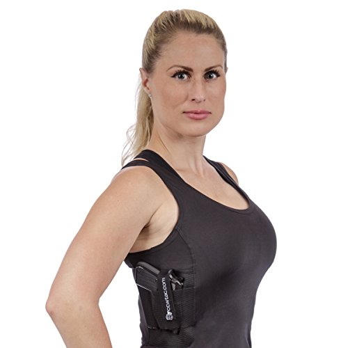 CCW Tactical Holster Shirt Tank Top for Concealed Carry and Workout Womens Compression Fit with Right and Left Hand Draw Handgun and Magazine Pockets, All Season Moisture Wicking, Black, 2XL