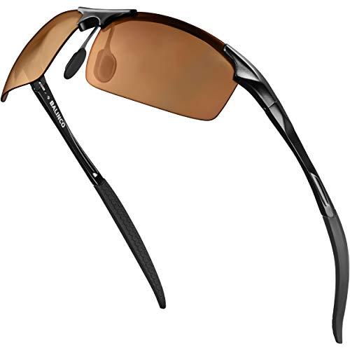 Balinco Gafas de sol deportivas montura de aluminio, protección UV y lentes TAC polarizadas - ideales para el ciclismo - en un práctico set de accesorios que incluye una caja de regalo