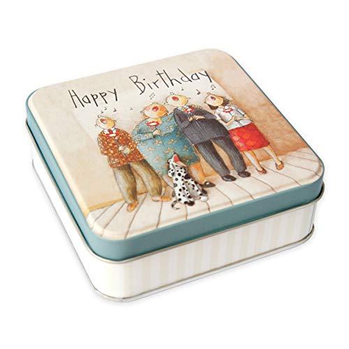 Blechdose als Geschenkverpackung, Geschenkbox mit Deckel retro Happy Birthday zum Befüllen, quadratisch, Blechdose klein, Geschenk, Geschenkidee zum Geburtstag