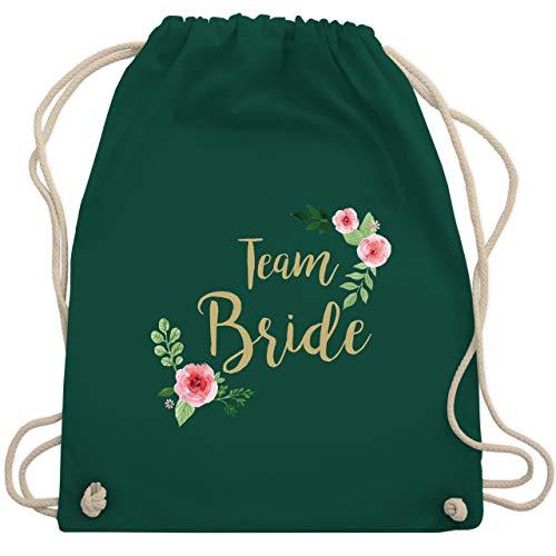 Shirtracer JGA Junggesellenabschied Frauen - Team Bride Blumen vintage - Unisize - Dunkelgrün - rucksack bride to be - WM110 - Turnbeutel und Stoffbeutel aus Baumwolle