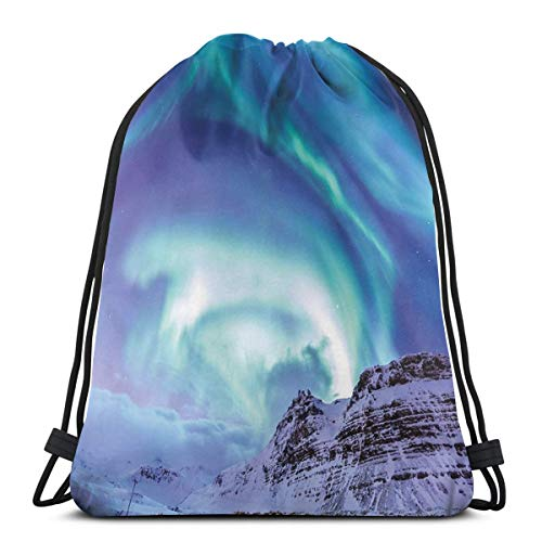 LLiopn Drawstring Sack Backpacks Bags,Aurora Borealis Kirkjufell Iceland Natural Phenomenon Northen Environment,Adjustable.,5 Liter Capacity,Adjustable.