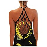 Youmymine Women Sunflower Print Vest T-Shirt Tank Tops Summer Ladies Sleeveless Crew-Neck Backless Blouses (XXL, White)