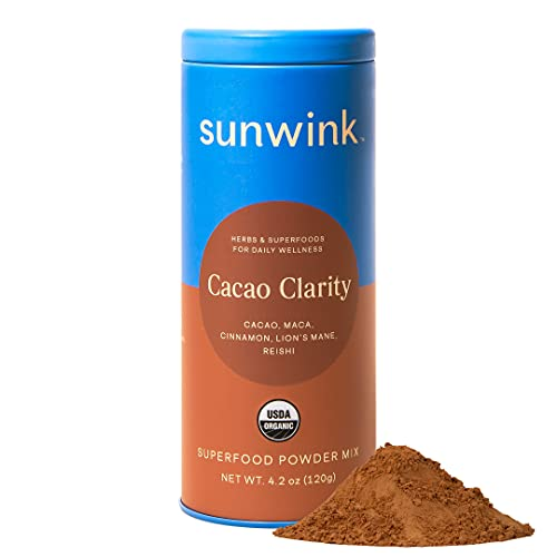 Sunwink Cacao Clarity Organic Superfood Powder Mix for Energy, Focus, and Endurance, Plant Drink Mix with Cacao Powder, Reishi Mushroom, Lion's Mane, Maca Root Powder, No Added Sugar (40 Servings)