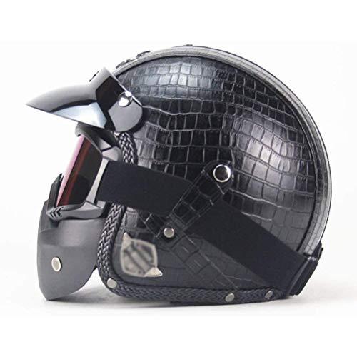 Cascos de Moto Vintage 3/4 Cascos de Piel sintética para Moto, con certificación Dot, con Gafas Casco Vintage de Cara Abierta para Motocicleta Chopper Bike, 53-64CM, S-XXL