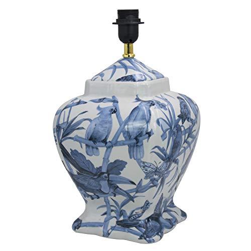Lámpara sobremesa tibor cuadrado cerámica loros, color blanco y azul. Medidas: 22 x 22 x 40 centímetros. Material: cerámica (referencia: 1398360)