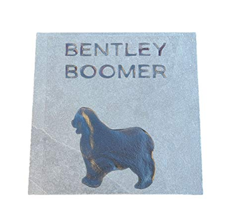 Mini Pin Pet Memorial Stone, Dog Memorials, Grave Markers, Natural Slate Stone, 6 x 6 Inch, All Breeds Available