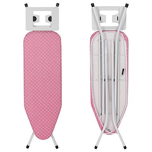 WOLTU BGT01pk Bügelbrett Bügeltisch für Dampfbügeleisen, Dampfdurchlässiger Oberfläche 110x30cm, Höhenverstellbar von 68cm bis 80cm, Rostfrei Weiß Rahmen, Abnehmbarer Bezug aus 100% Baumwolle, Pink