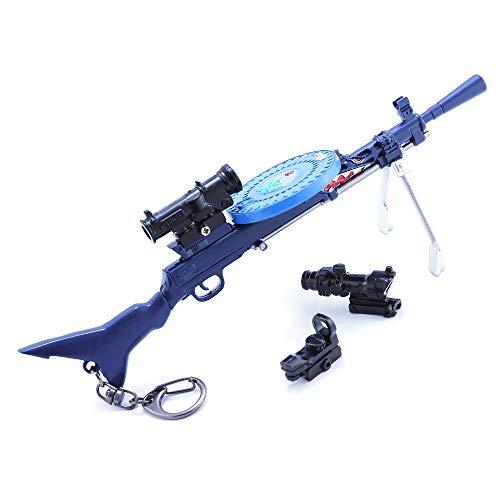 LINLUO Mini pistola llavero colgante para juego de batalla jugador luz ametralladora juguetes modelo metal DP28 pistola llavero juego suministros de fiesta colección regalo