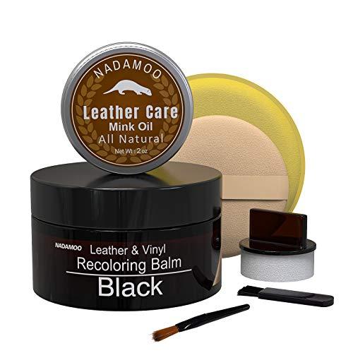 NADAMOO Black Leather Recoloring Balm with Mink Oil Leathe...