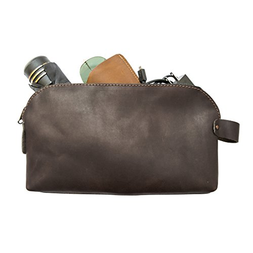 Large All Purpose Dopp Kit Utility Bag (Cords, Chargers, Tools, School / Office Supplies) Handmade by Hide & Drink :: Espresso