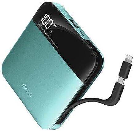SOLOVE素乐自带线10000小巧充电宝Apple/苹果type-c专用移动电源 (知更鸟蓝)
