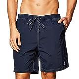 Nautica Men's Standard Solid Quick Dry Classic Logo Swim Trunk, Navy, Large