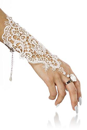Yourdesignerz Weißer Damen Handschmuck aus Spitze mit Perlen und Ring als Fingerschlaufe mit Karabinerhakenverschluss