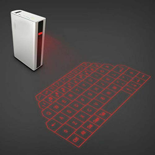2 in 1 Virtual Projection Keyboard, Bluetooth Hologram Keyboard with Voice Transmission, 5200 mAh Mobile Power, Mini Stereo, for Phone, iPad, PC, Laptop Computer (Colour: second)