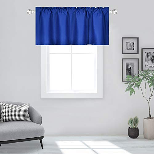 DECOVSUN Royal Blue Valance for Windows 60x18 Inch Solid Thermal Insulated Blackout Rod Pocket Kitchen Short Curtain Toppers Valance for Bathroom Living Room 1 Panel