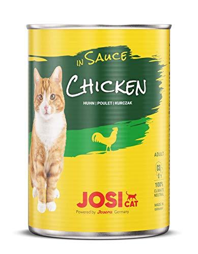 JosiCat Chicken in Sauce (12 x 415 g) | Feines Katzenfutter Nassfutter in Sauce | Katzenfutter mit Huhn | für ausgewachsene Katzen | powered by JOSERA