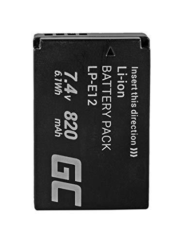 Green Cell LP-E12 LPE12 Batería para Canon EOS 100D 1100D M M10 M100 M100 EF-M M2 EOS Rebel SL1 EOS-M Cámara, Full Decoded (Li-Ion Celdas 820mAh 7.4V)