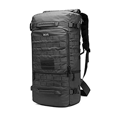 CRAZY ANTS Large Military Tactical Backpack Hiking Camping Daypack Duffle Upgraded Version (Black-50L)