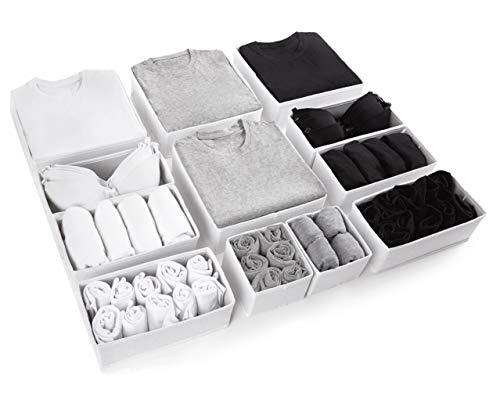 Organizador Cajones Grandes conjunto de 12 Divisores de Cajones Blancos para Almacenaje ropa de Casa Organizador Camisetas Organizador Ropa Interior Organizador de Armarios Organizadores de cajones
