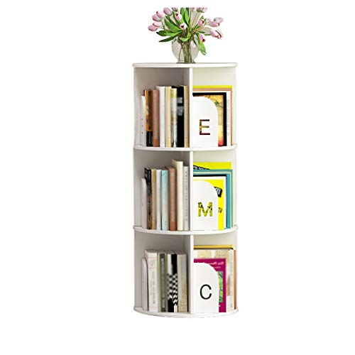 Bibliothèque Rotating Bookshelf Bureau pour Enfants Rack Rack Student Desktop Bay Tablettes de fenêtre Simple Bureau Petit étage FANJIANI (Color : White, Size : 97cm)
