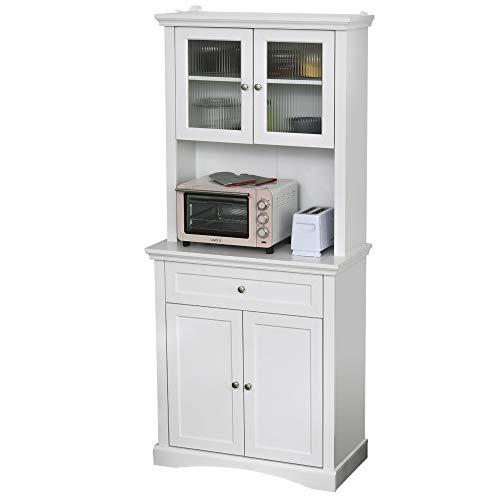 HOMCOM Küchenschrank mit Schublade, Hochschrank mit verstellbaren Ablagen, Kommode, MDF, Spanplatte, 79 x 40 x 180 cm