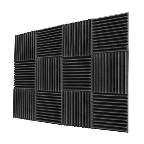 "Acoustic Foam Panels 12 Pack 2""x12""x12"" Sound Proof Padding Soundproofing Studio Foam Wedges (12 Square Feet)"