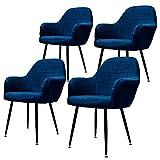 ML-Design Juego de 4 Sillas de Comedor con Respaldo y Reposabrazos Azul Oscuro Asiento de Terciopelo Tapizado Sillón con Patas de Metal Negro Muebles Decorativos Diseño Moderno Ideales para el Hogar