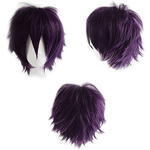 Perruque Cosplay Femme Deguisement Fibre Synthetique Homme Unisex Cheveux Court Costume Halloween Carnaval - Violet Foncé