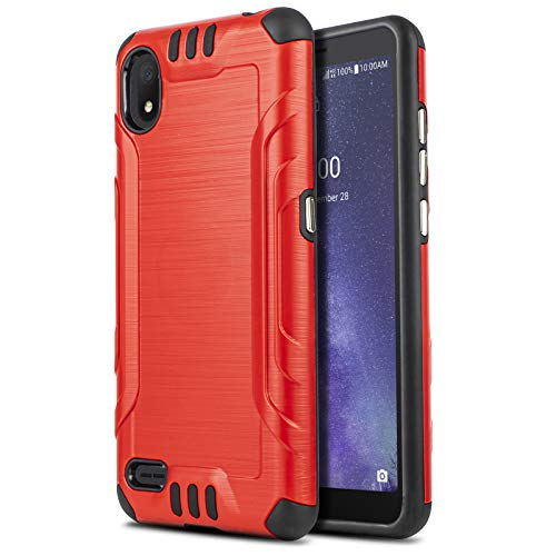 CasemartUSA Phone Case for [TCL Signa (Verizon)], [Brushed Series][Red] Shockproof Protective Defender Cover for TCL Signa (TCL-5004SPP) Verizon Wireless Prepaid Phone
