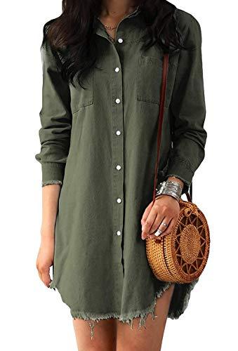 Hertsen Vestido de manga larga para mujer, estilo túnica casual con bolsillos, vestido de camisa